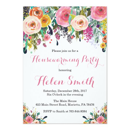 Floral Housewarming Party Invitation Card