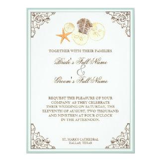Floral Hydrangea Flower Seashell Swirls Beach Custom Invitations