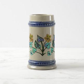 Floral Illustration Beer Stein