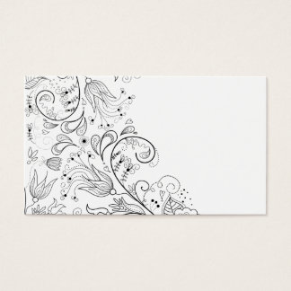 Floral Illustration Flourish Flower Lines Spring Business Card