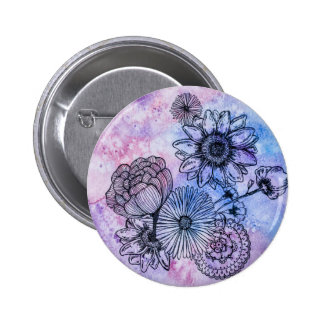 Floral Illustration on Watercolor By Megaflora Pinback Button