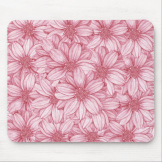 Floral Illustrative Pink Print Mouse Pad