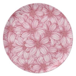 Floral Illustrative Print Party Plates