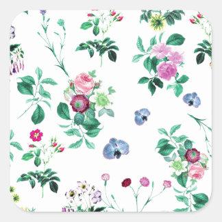 Floral Image Fash Square Sticker