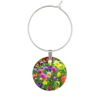 Floral Impressions Garden Flowers Wine Charm