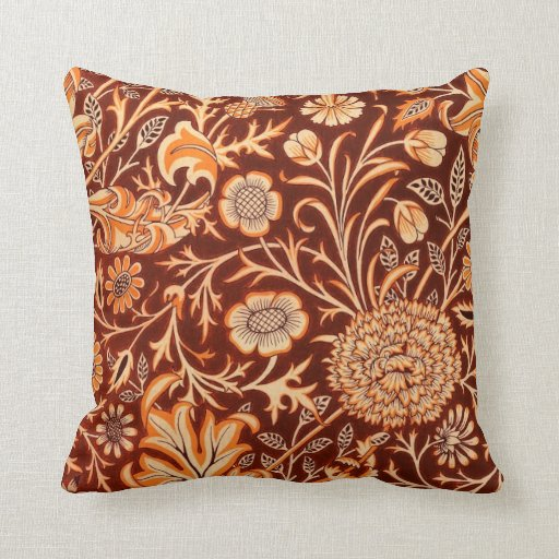 Floral in Fiery Red and Orange Throw Pillow