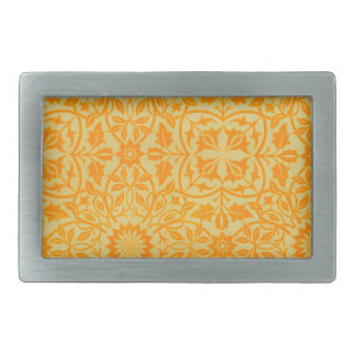 Floral in Orange and Gold Rectangular Belt Buckle
