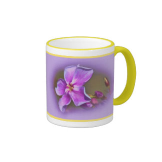 Floral in Pink and Lilac Ringer Coffee Mug
