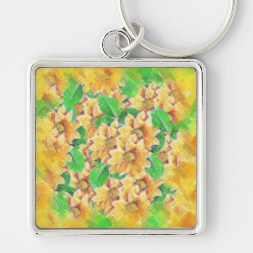 Floral in Yellow Silver-Colored Square Keychain