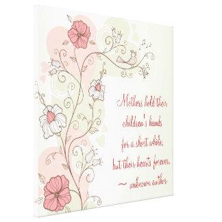 Floral inspirado para la lona envuelta mamá impresión en lona