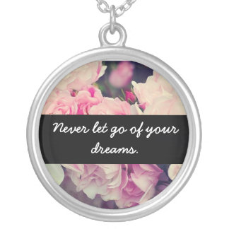 Floral inspirational quote round pendant necklace