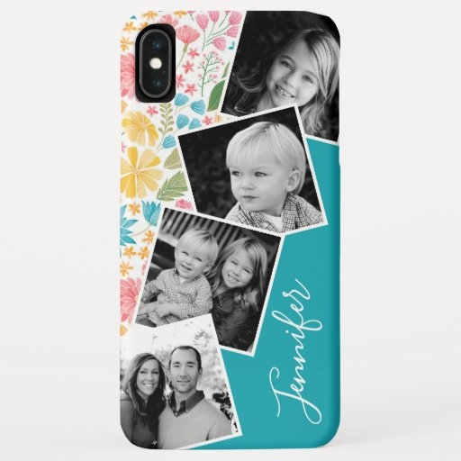 Floral Instagram Filmstrip Photo Collage Name iPhone XS Max Case