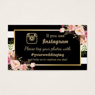 Floral Instagram Hashtag Wedding Insert Card
