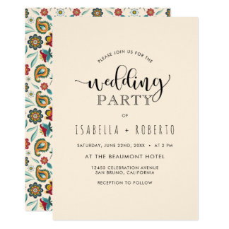 Floral Invitation | Colorful Boho Batik Wedding