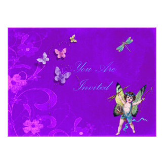 Floral Invites With Cherub and Butterflies