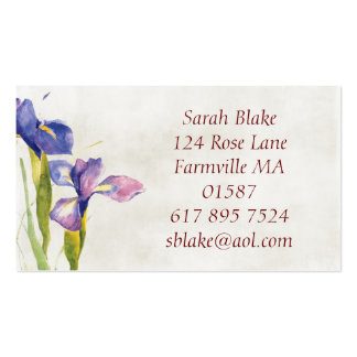 Floral iris Watercolor Business Card