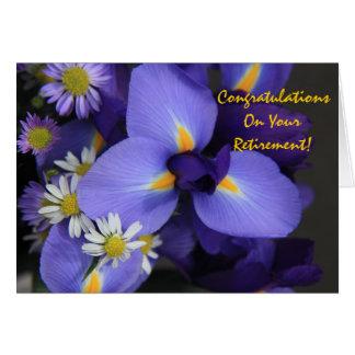 Floral, iris y mini margarita, retiro felicitaciones
