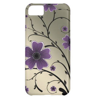 Floral Ivory purple Cover For iPhone 5C