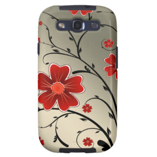 floral ivory red galaxy s3 case