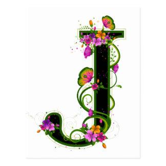 Floral J Post Card