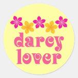 Floral Jane Austen Darcy Lover Gift Round Stickers
