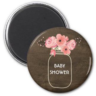 Floral Jar & Lights on Rustic Wood Baby Shower Magnet