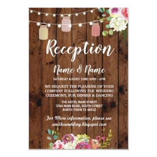 Floral Jars Rustic Wedding Reception Cards Wood