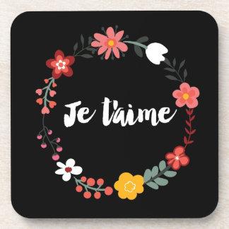Floral Je t'aime On Black Coaster