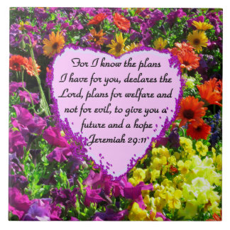 FLORAL JEREMIAH 29:11 PHOTO DESIGN CERAMIC TILE