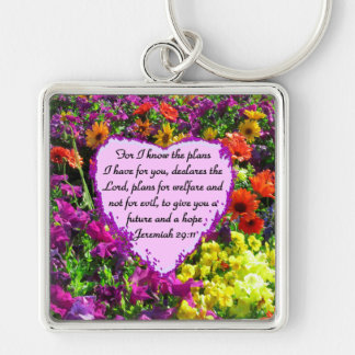 FLORAL JEREMIAH 29:11 PHOTO DESIGN Silver-Colored SQUARE KEYCHAIN