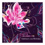 "Floral Jubilee - Birthday Party Invitation 5.25"" Square Invitation Card"