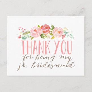 Floral Junior Bridesmaid Thank You