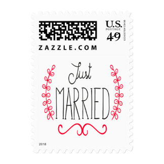 Floral Just Married Black & Red Wedding Stickers Postage