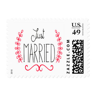 Floral Just Married Black & Red Wedding Stickers Stamp