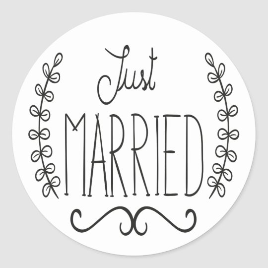 Floral Just Married Black Amp White Wedding Stickers