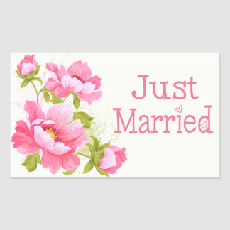 Floral Just Married Pink Peonies Flower Stickers