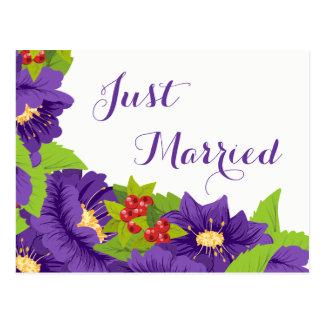 Floral Just Married Purple Flower Wedding Postcard