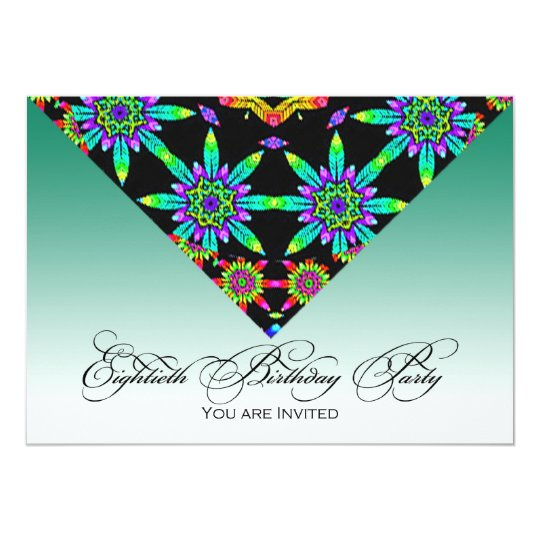 Floral Kaleidoscope 80th Birthday Party Invitation