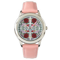 Floral Kaleidoscope Stainless Steel Pink Watch