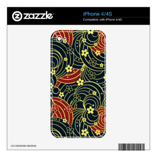 Floral Kimono Pattern in Night Colors iPhone 4 Decal