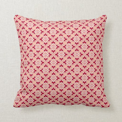 Burgundy Print Throw Pillows : Floral kimono print, coral pink and burgundy pillows Zazzle