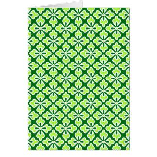Floral kimono print, lime and pine green card