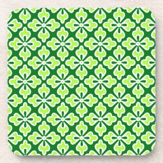 Floral kimono print, lime and pine green drink coaster