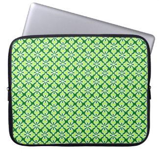 Floral kimono print, lime and pine green laptop computer sleeve