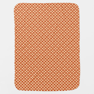 Floral kimono print, mandarin orange baby blanket