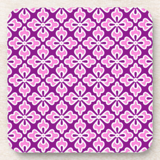 Floral kimono print, orchid pink and purple coasters