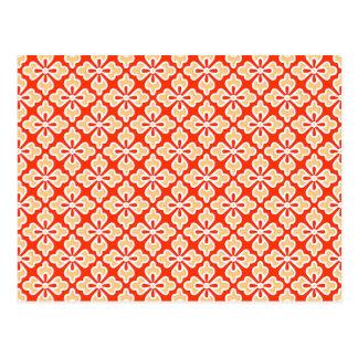 Floral kimono print, peach and mandarin orange postcard