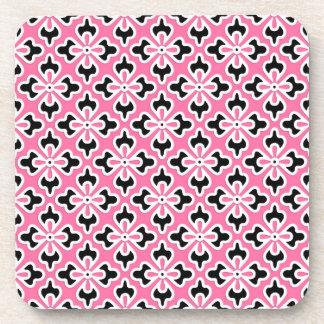 Floral kimono print, pink, black and white beverage coasters
