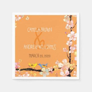 Floral Kissing Birds Orange Wedding Paper Napkin