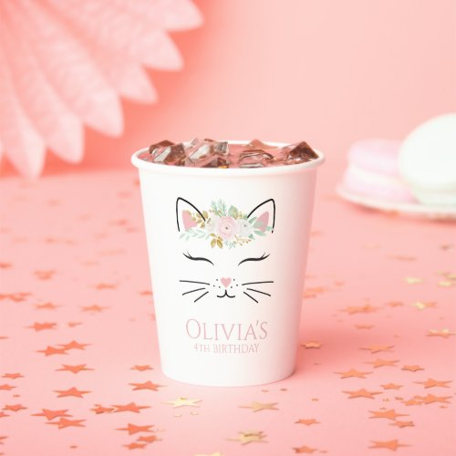 Floral Kitten Birthday Party kitty face Paper Cups